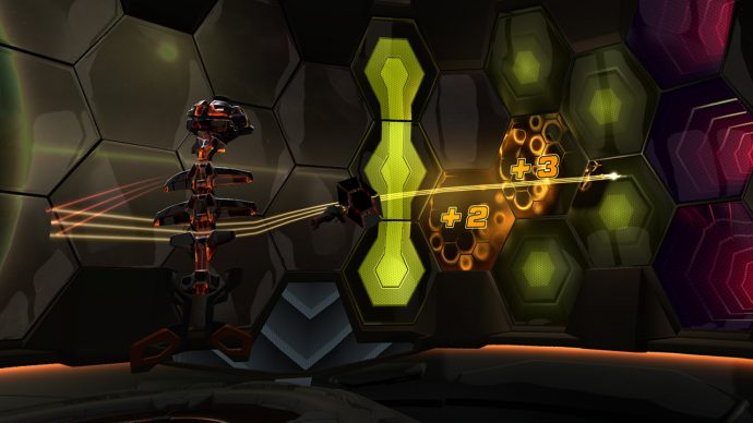 A screenshot of a hex-covered dome in Racket: Nx.