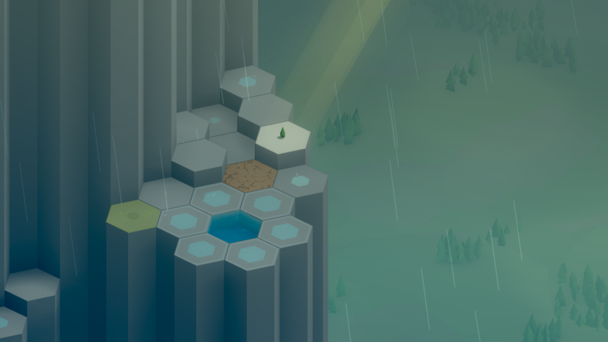Rain and hex-based landscapes. A match made in heaven.
