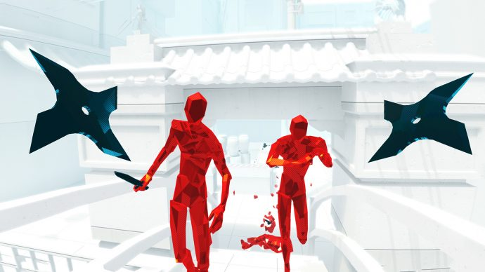 A screenshot showing two red enemies coming toward you with two flying shuriken on either side of them in Superhot VR.