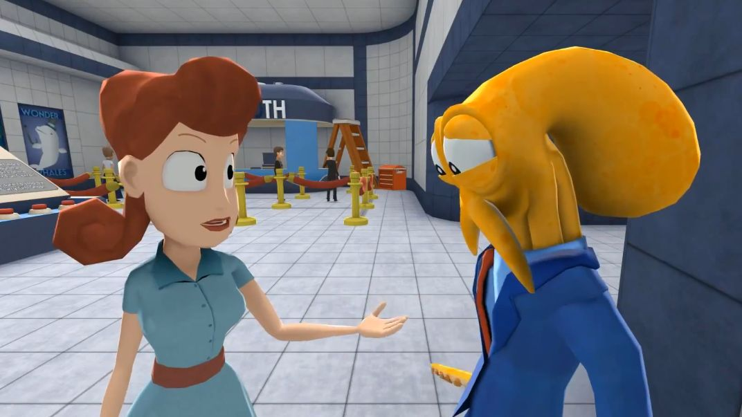 Octodad (a yellow octopus in a blue suit) and his non-octo wife (a human woman in a light blue dress) stand in conversation.
