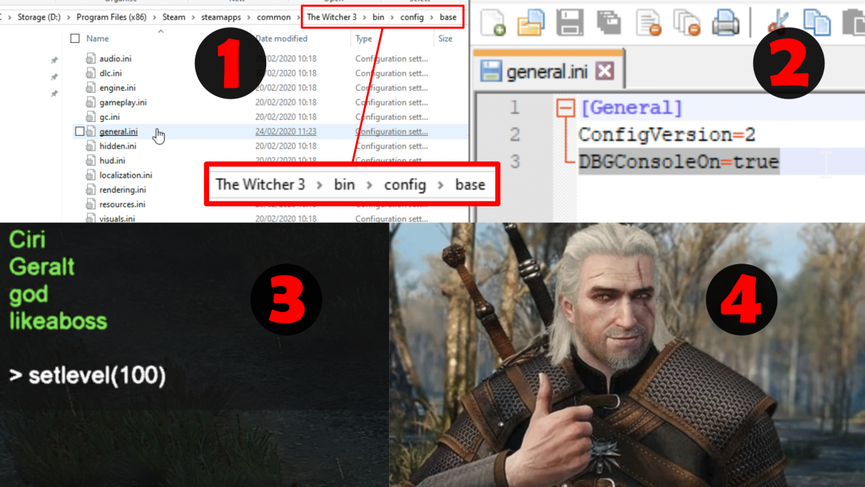 How to enable the Witcher 3 console