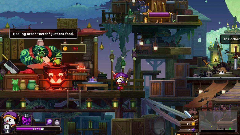 A screenshot of a big shopkeeper orc from Skul: The Hero Slayer.