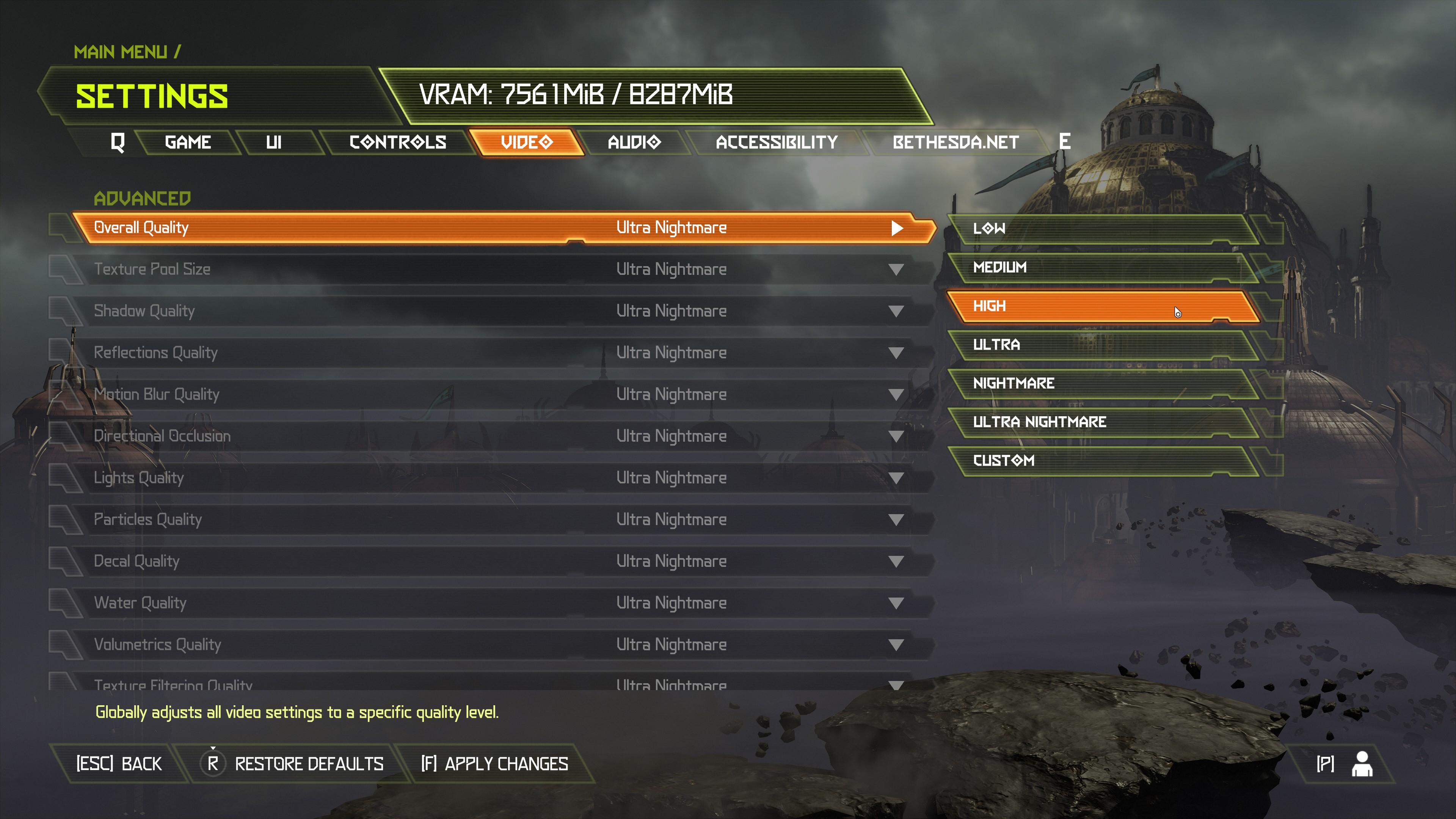 Doom Eternal PC performance graphics options