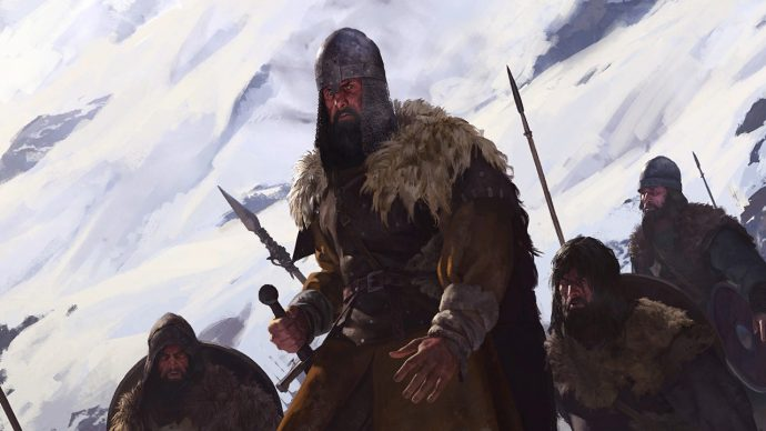 A barbarian warrior in Bannerlord trudging through the snow.