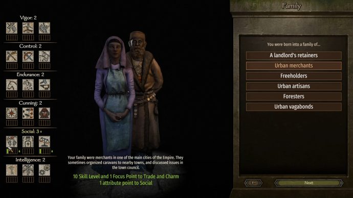 The character creation screen for Bannerlord which can determine some starting skills.