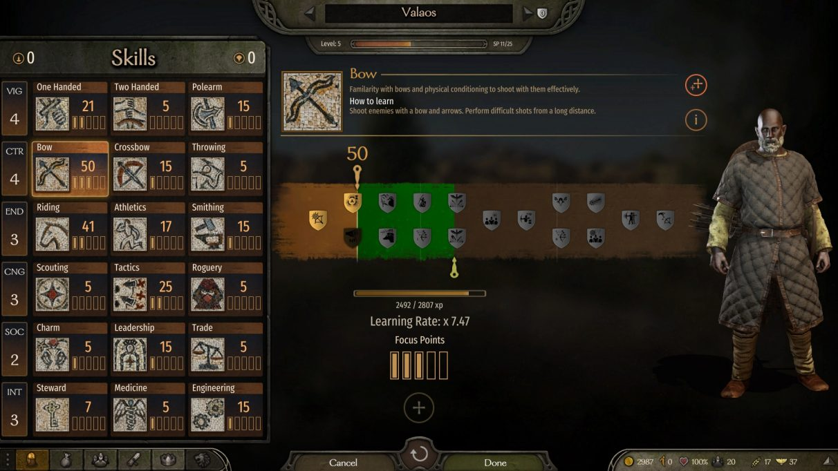 Mount And Blade 2 Bannerlord skills