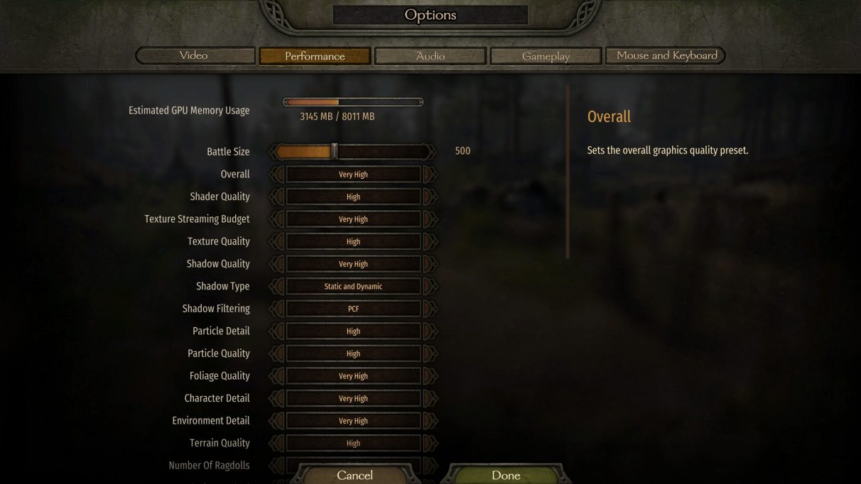 Mount and Blade 2 Bannerlord performance menu