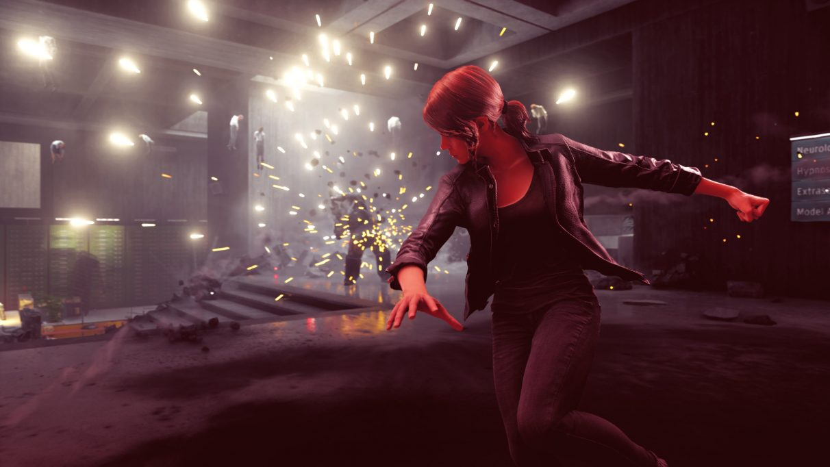 A screenshot of Jesse turning away from a large explosion in Control.