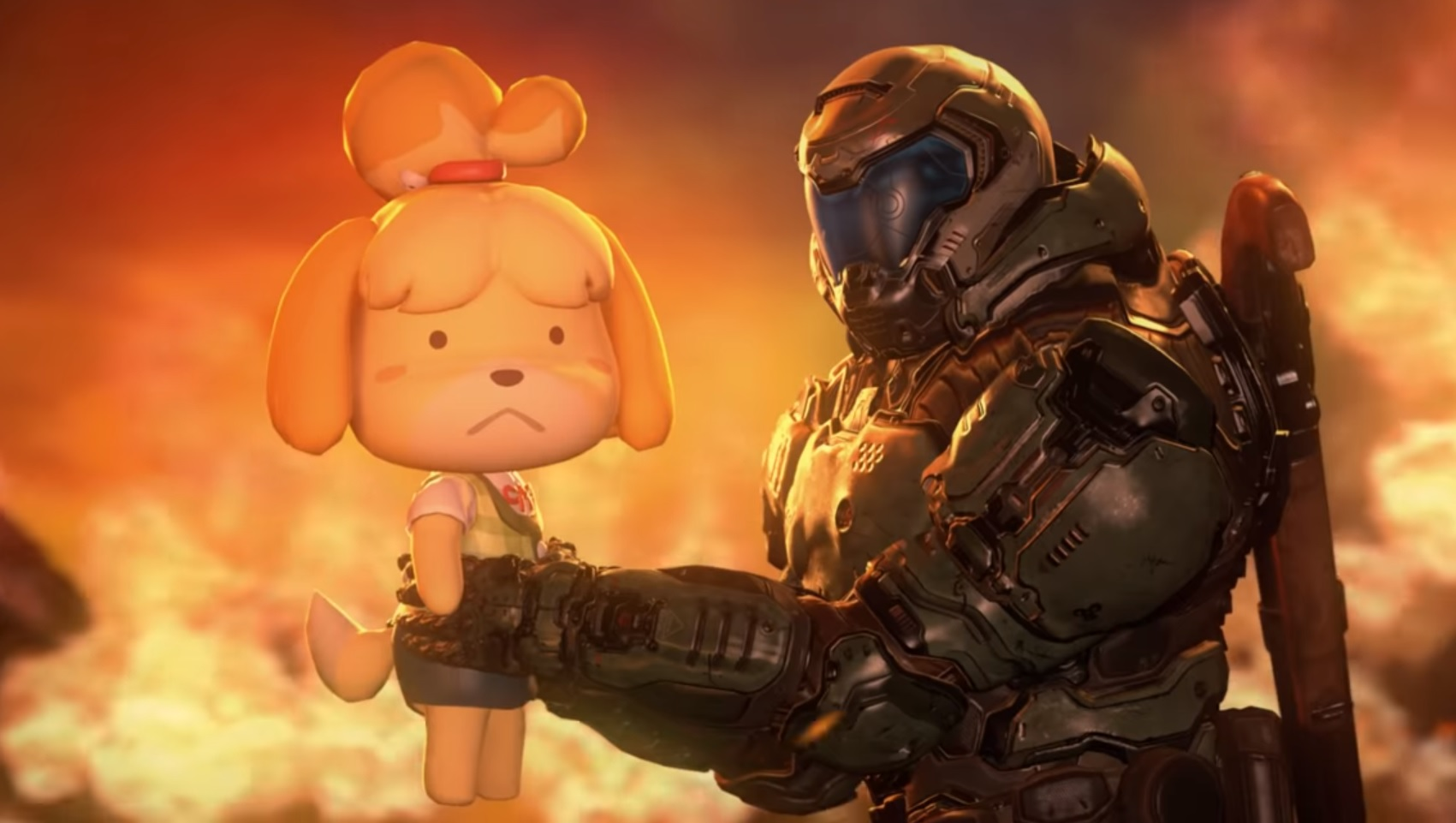 This Doomguy And Isabelle Video Is Gut Rippin Gold Rock Paper