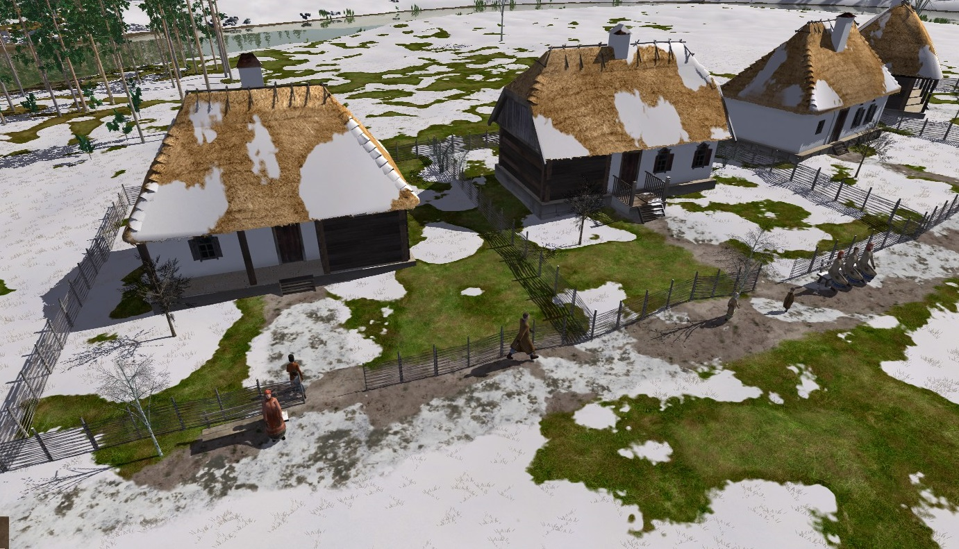 A screenshot showing a row of thatched cottages in Ostriv, under patchy snow