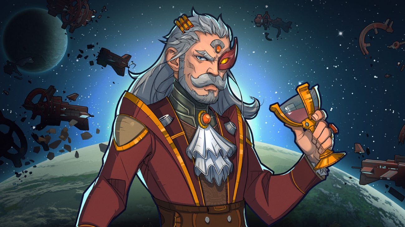 A RimWorld screenshot of a posh looking space man with a scifi cravat. He is holding a fancy golden glass of wine and has an impressive grey moustache and beard.