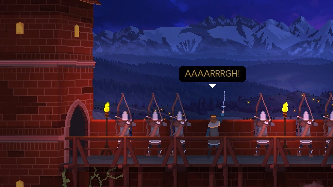 A screenshot of the King in Yes, Your Grace, standing on his battlements with archers, raising his sword and going 'AAAARRRGH!'
