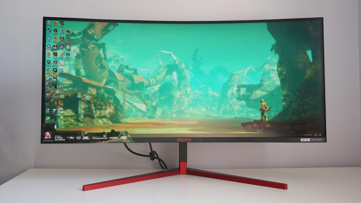 A photo of the ultrawide AOC Agon AG353UCG gaming monitor.
