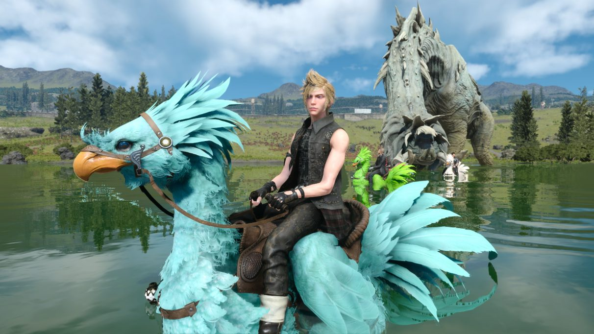 A screenshot of Prompto riding a blue chocobo in a lake in Final Fantasy XV