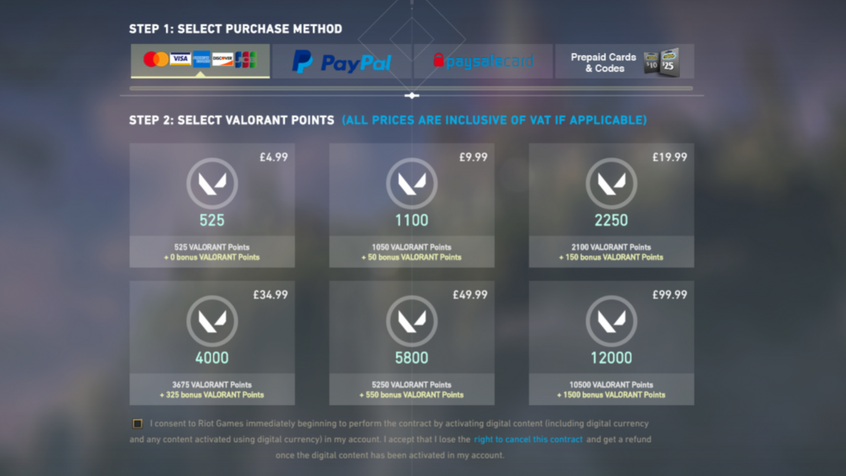 Purchasing Valorant Points