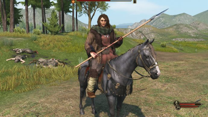 With the enhanced character creation mod for Bannerlord, you can create a particularly hench warrior and get her to sit on a horse that looks very uncomfortable about the whole thing.