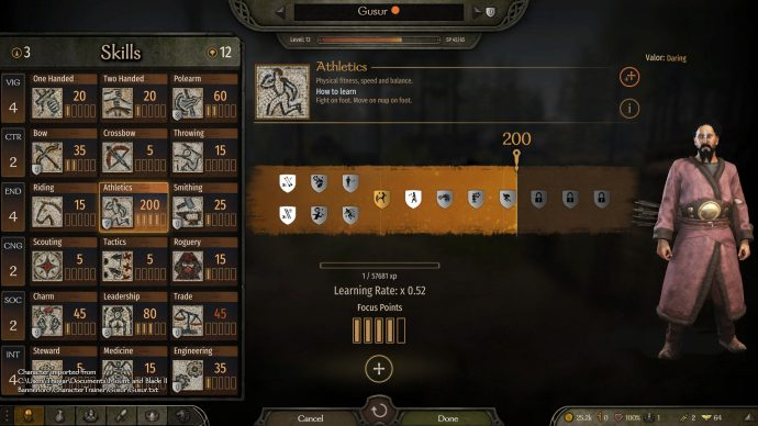 The skill tree in Bannerlord can be modified with this mod to have zero skills in everything!