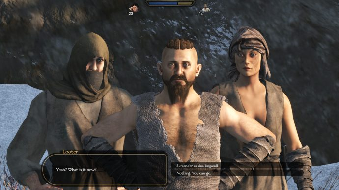 Talking to a few bandits. With the mod, there are now female troops.
