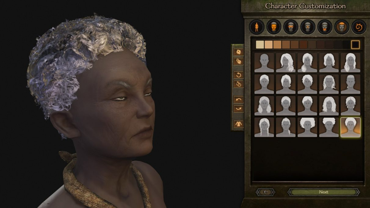 Some important hairstyle choices to be made when creating a new character in Bannerlord.