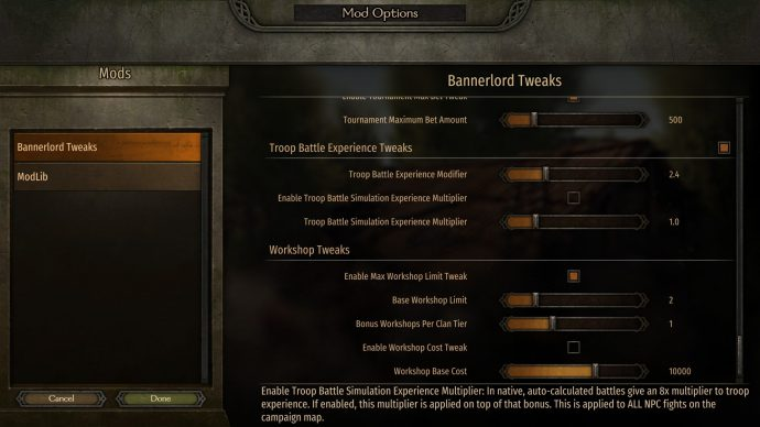 The Bannerlord tweaks mod gives you all these lovely menus!
