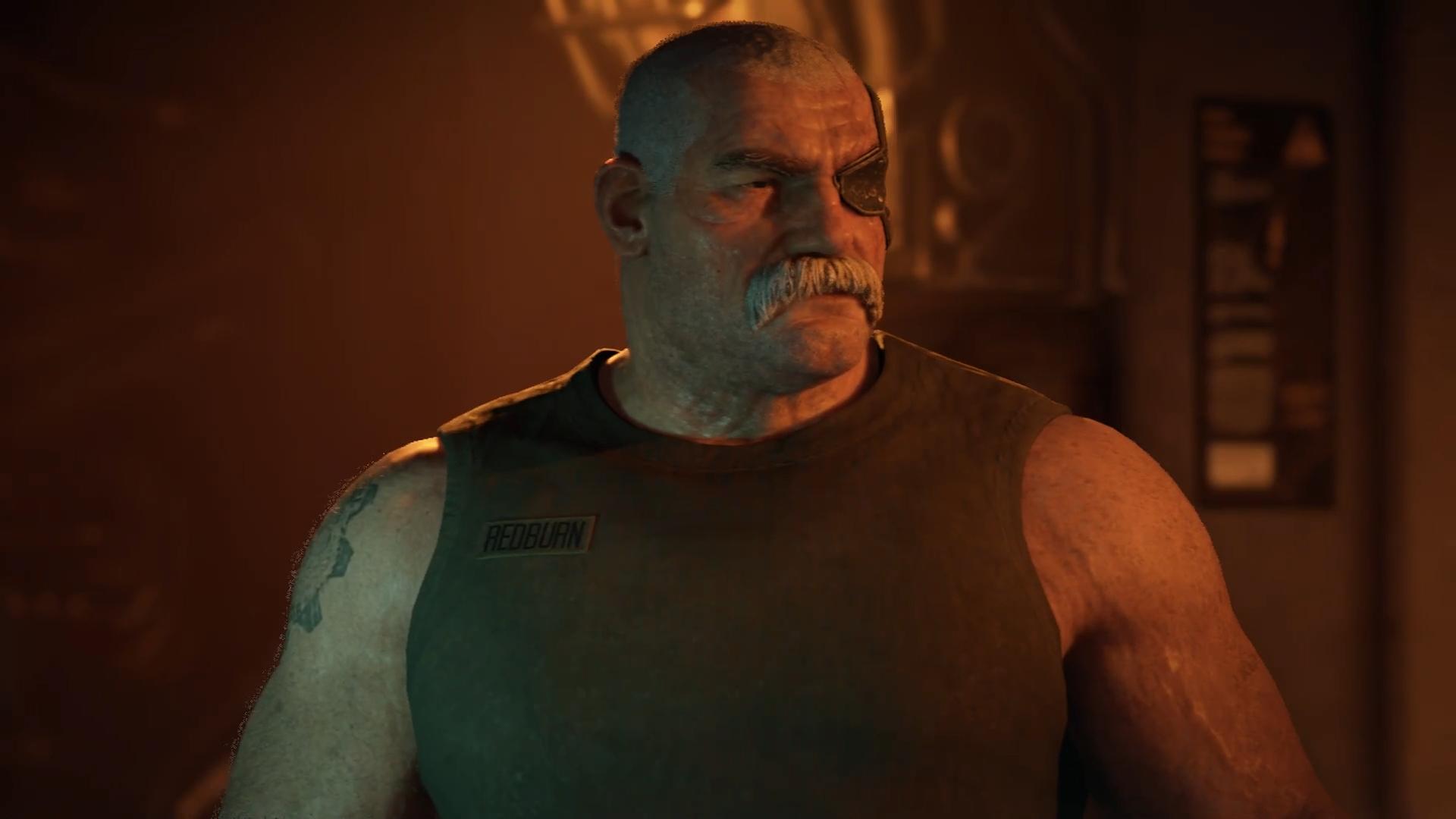 A screenshot of Gears Tactics character Sid.