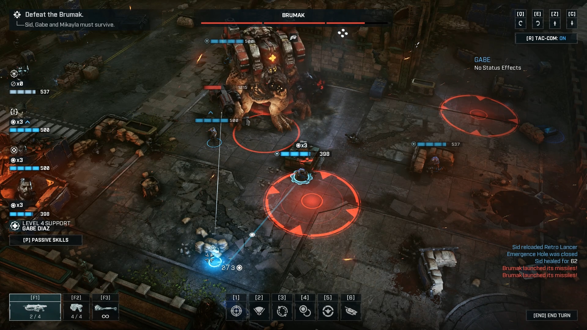 A screenshot from Gears Tactics showing the squad arrayed around a large enemy brute
