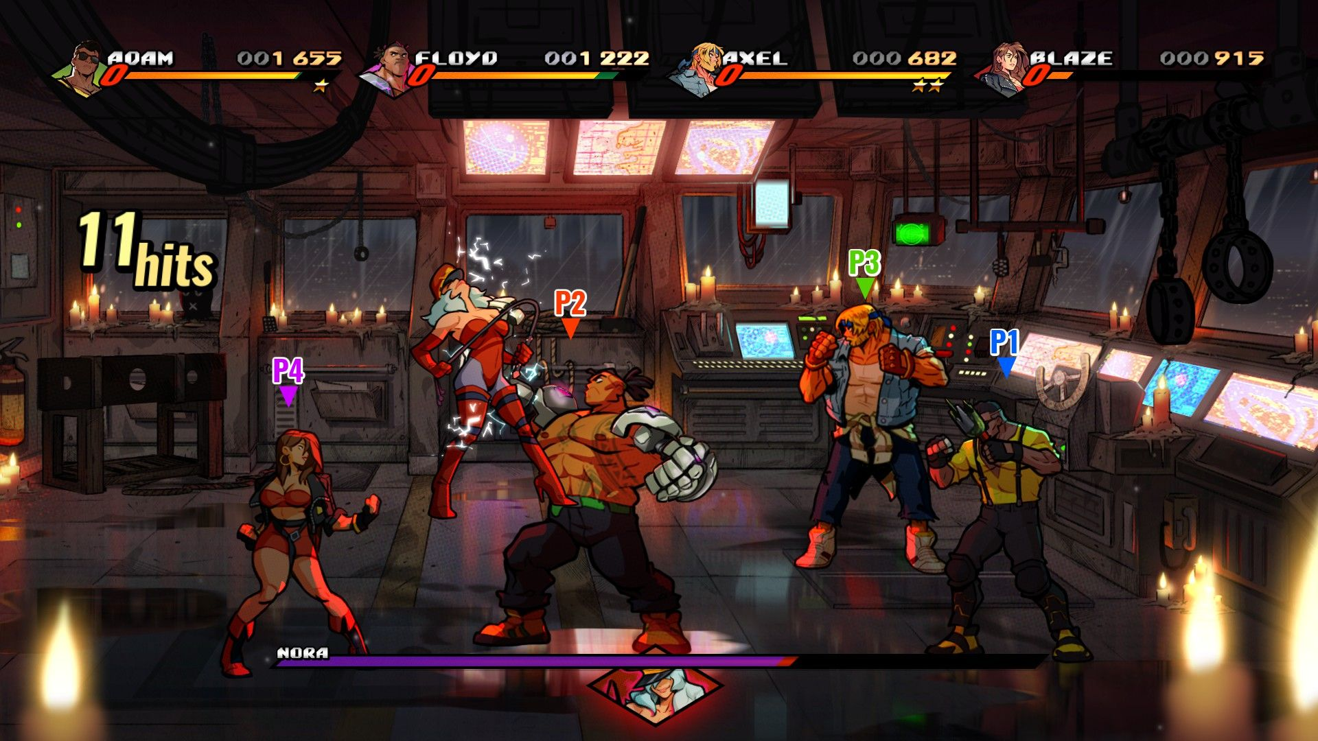 A screenshot of a boss fight: four players are ranged around a what looks like a control deck on a ship, as the Streets Of Rage characters Adam, Floyd, Axel and Blaze. The boss is a woman in red thigh highs and a strapless red bustier, kind of like a combat ready Jessica Rabbit
