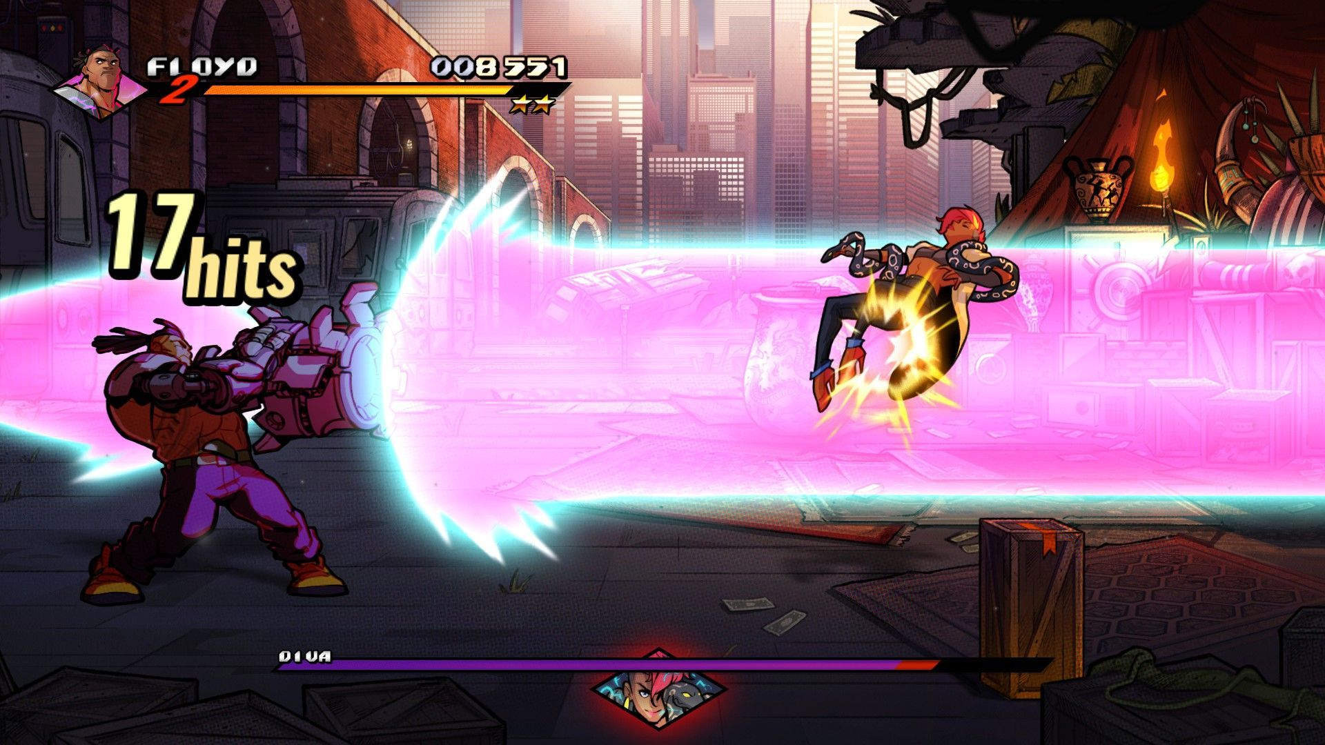 A screenshot from Streets Of Rage 4 showing the player character Floyd using a special attack, a huge beam of purple light blasting away an enemy