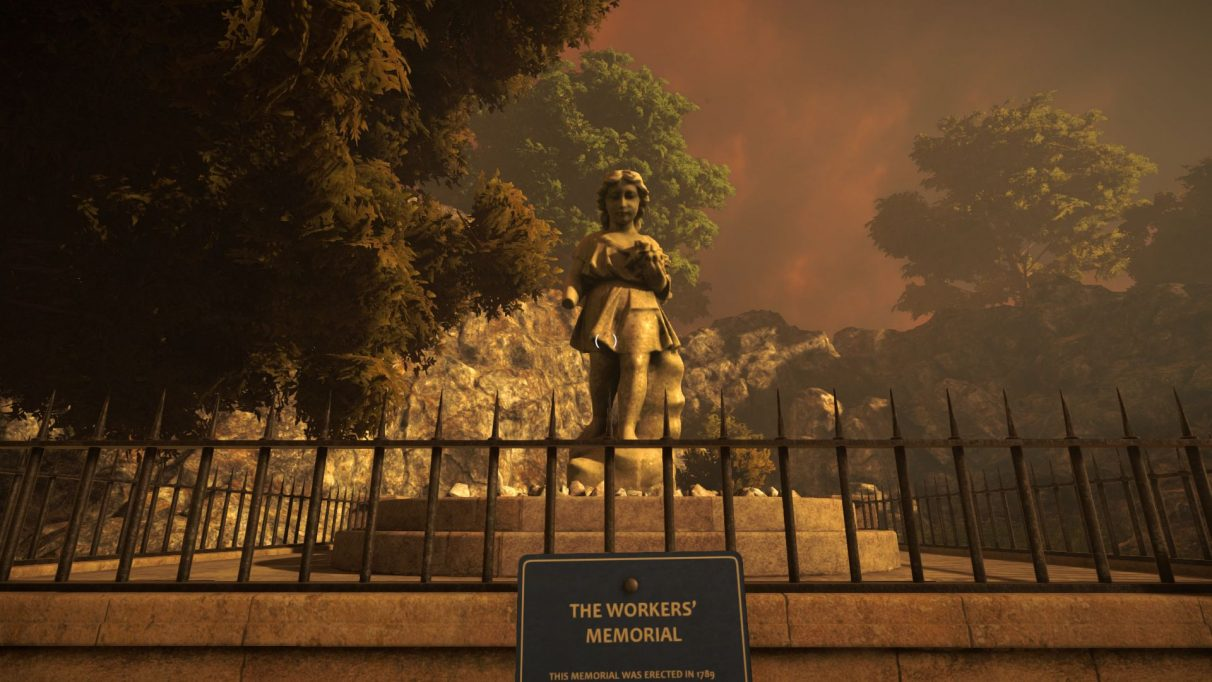 A screenshot from Old Gods Rising showing a creepy memorial to some construction workers who died in an accident decades before. It is a statue of a small, angelic looking girl, but weathered and a bit mossy.