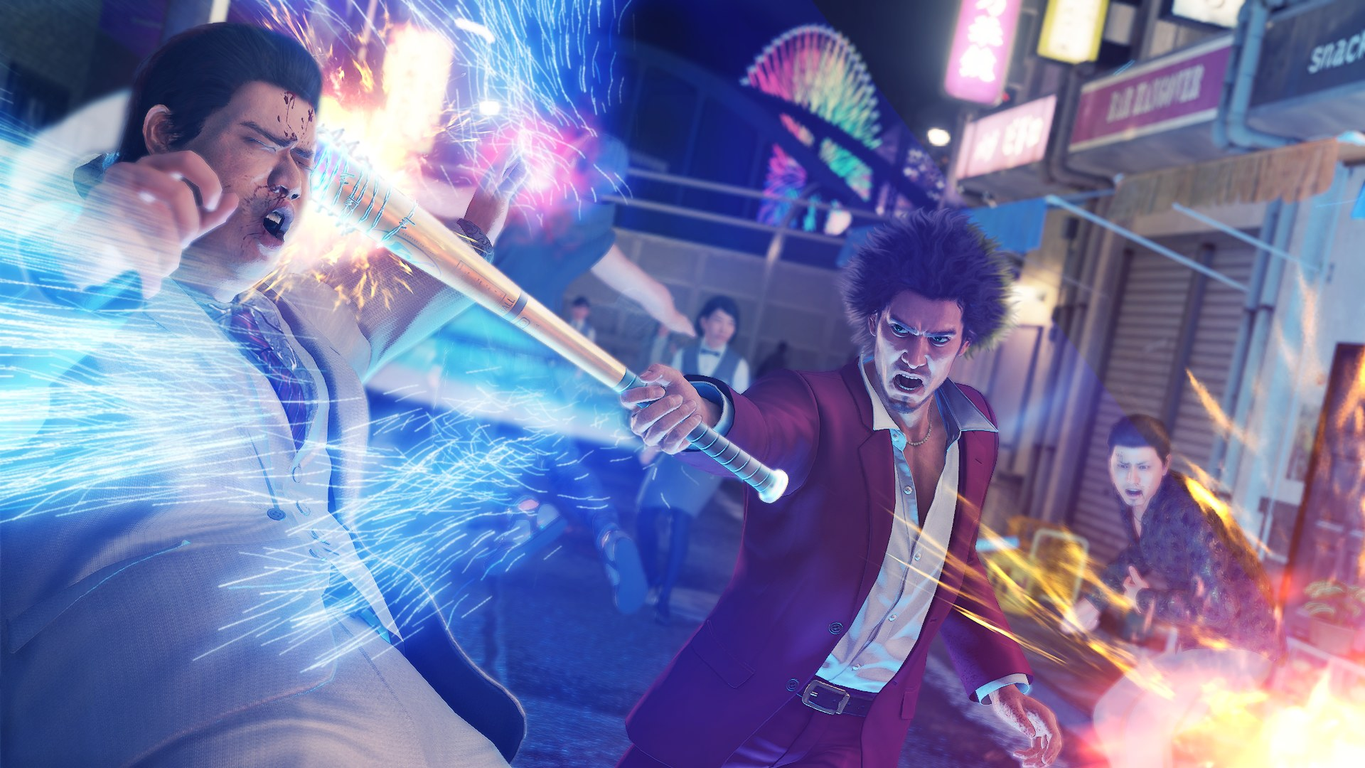 Yakuza: Like A Dragon protagonist Kasuga swings a bat in a big arc of purple lightning, smacking a bad guy in the face with it