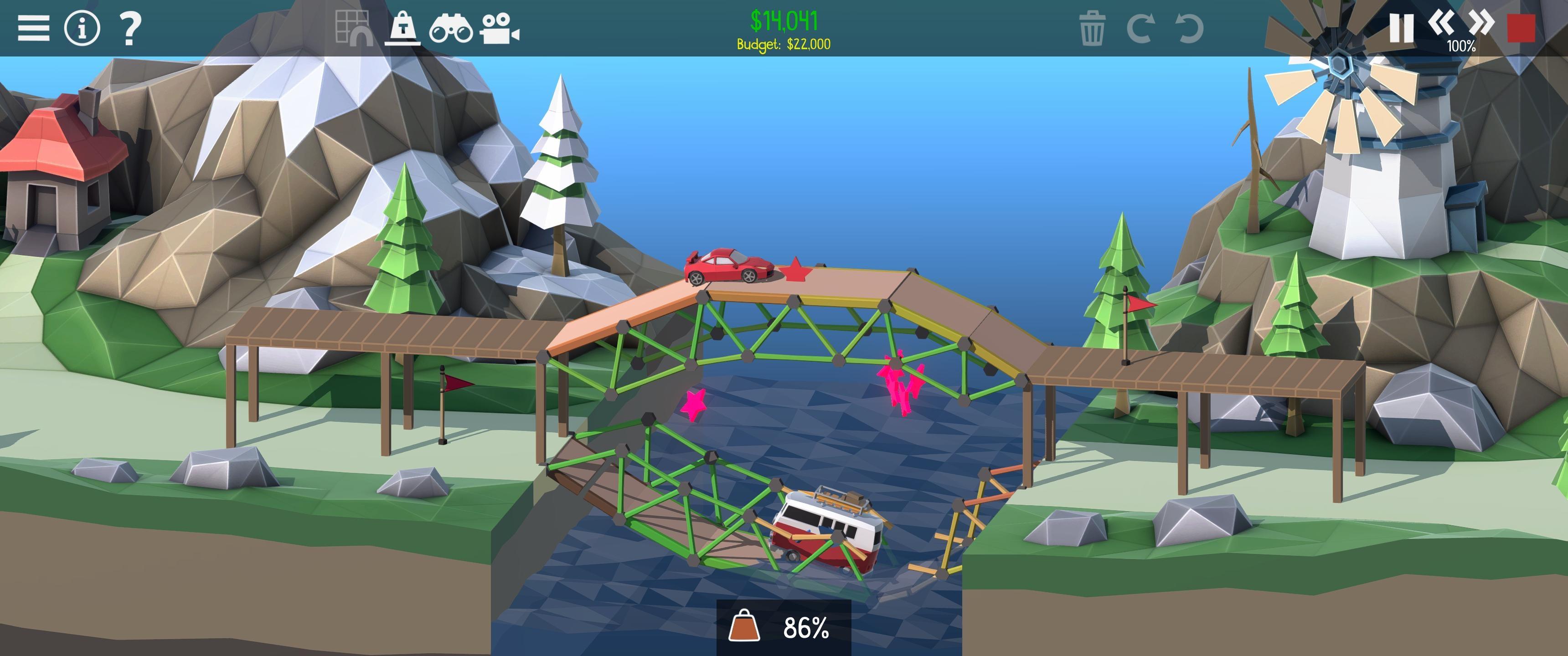 Screenshot of the best kind of bridge in Poly Bridge 2.