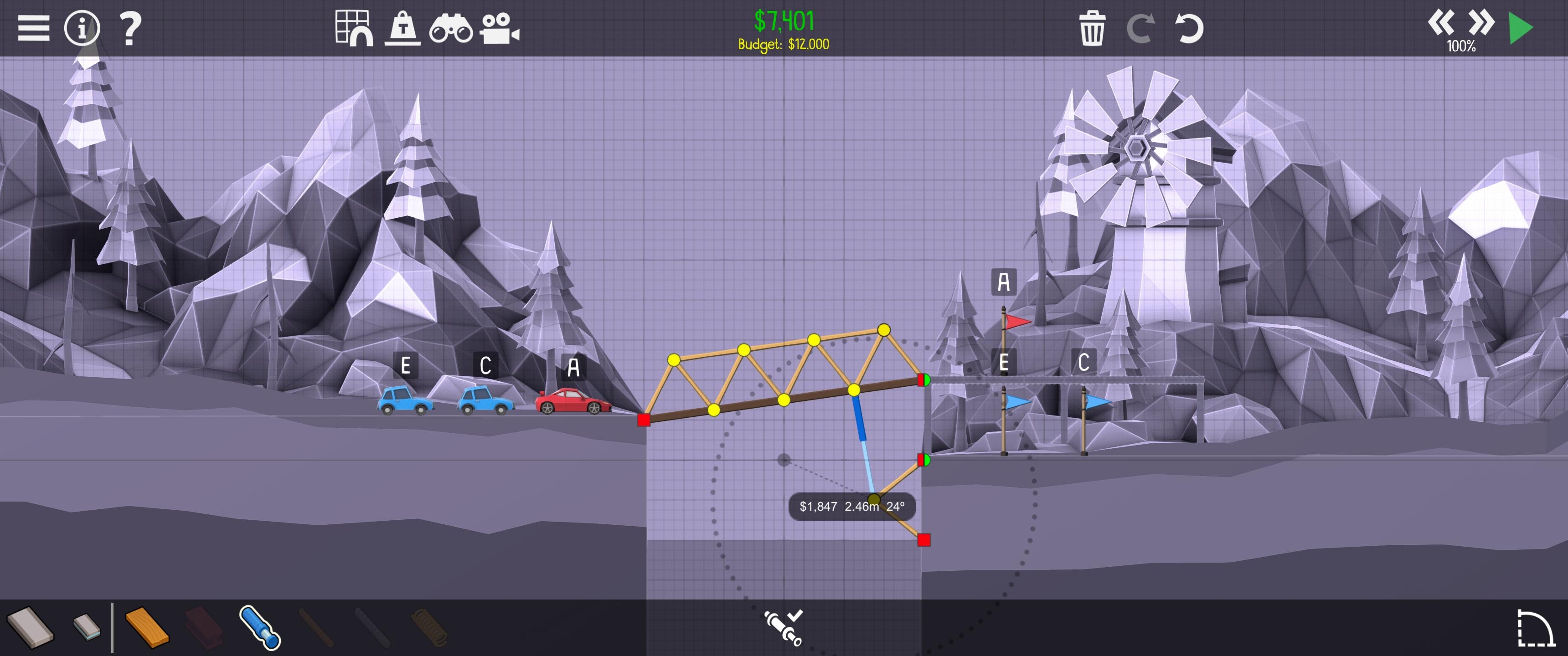 Screenshot of the build interface in Poly Bridge 2.