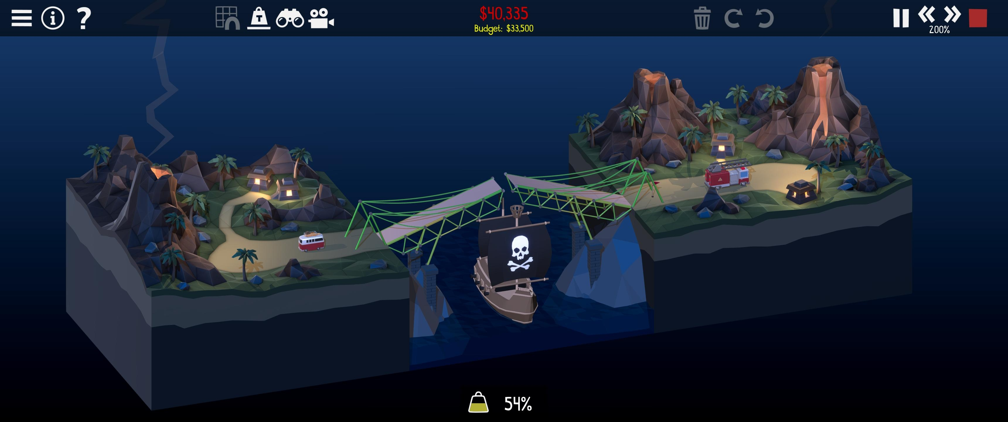 Screenshot of more boats terrorising bridges in Poly Bridge 2.