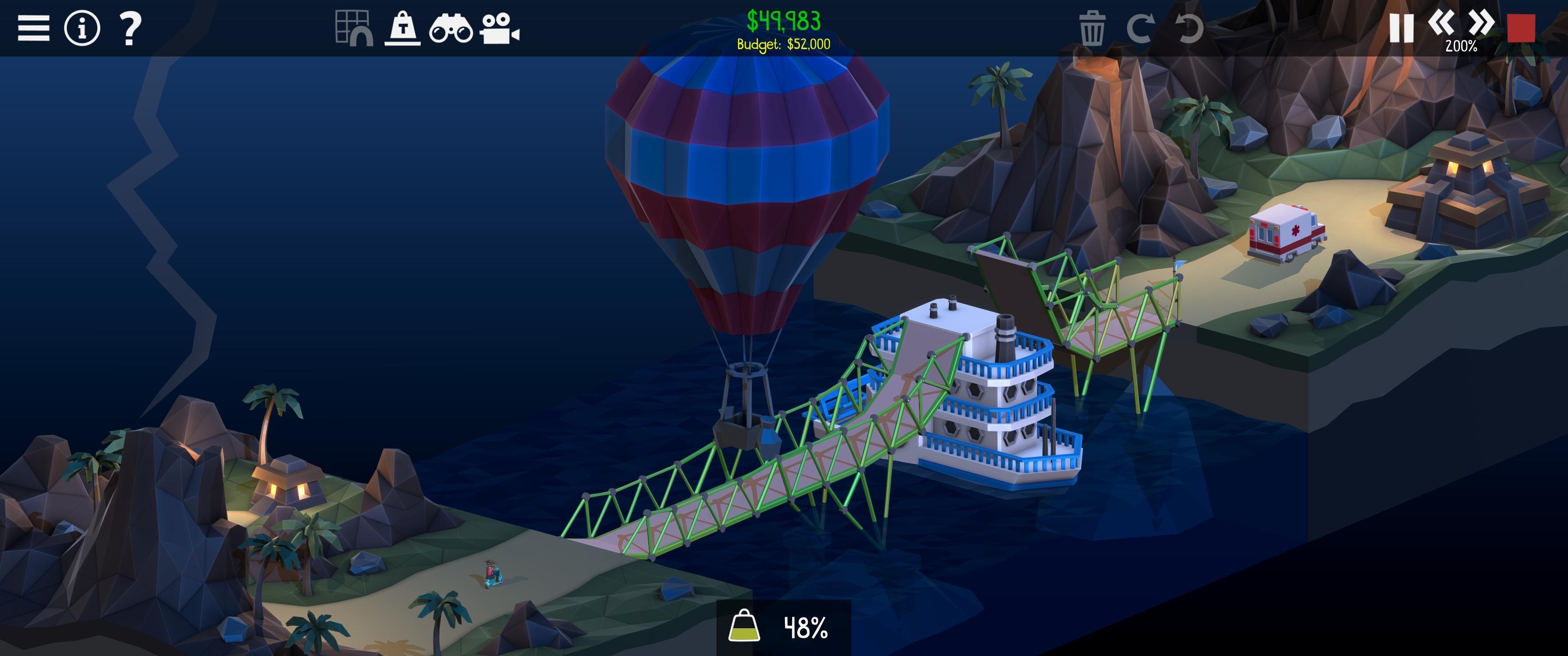 Screenshot of a boat terrorising bridges in Poly Bridge 2.