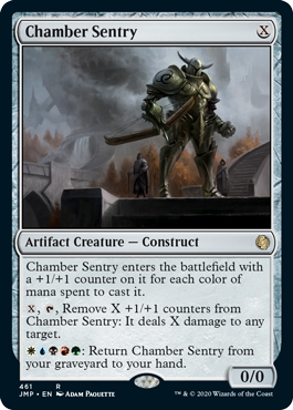 Chamber Sentry card from the Rainbow set in MTG Arena's Jumpstart.