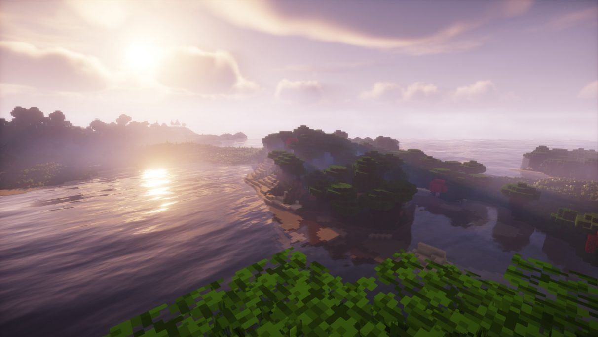 Roofed Forest meets the sea in this lovely vista, rendered using Chocapic13's Shaders for Minecraft 1.16.1.