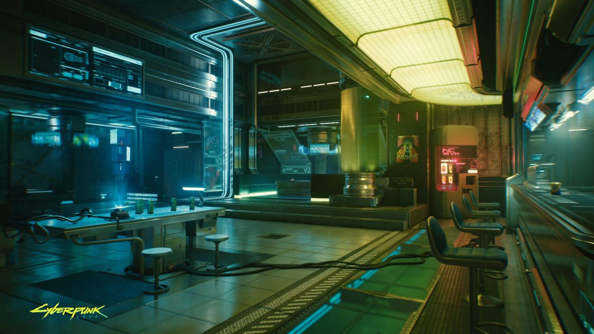 A screenshot of Cyberpunk 2077 with ray tracing enabled