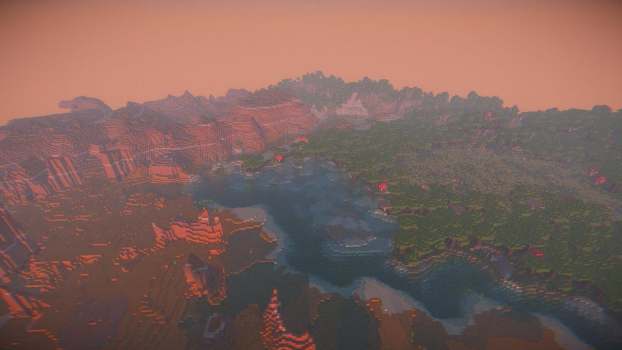 With KUDA Shaders for 1.16.1, the combination of Mesa biome and sunset turns the sky a vibrant orange.