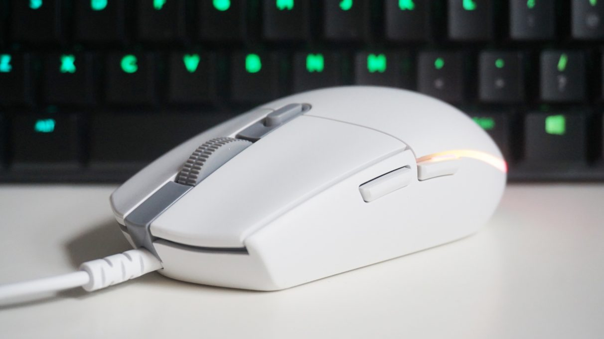 A photo of the Logitech G203 Lightsync gaming mouse.