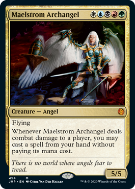 Maelstrom Archangel card from the Rainbow set in MTG Arena's Jumpstart.