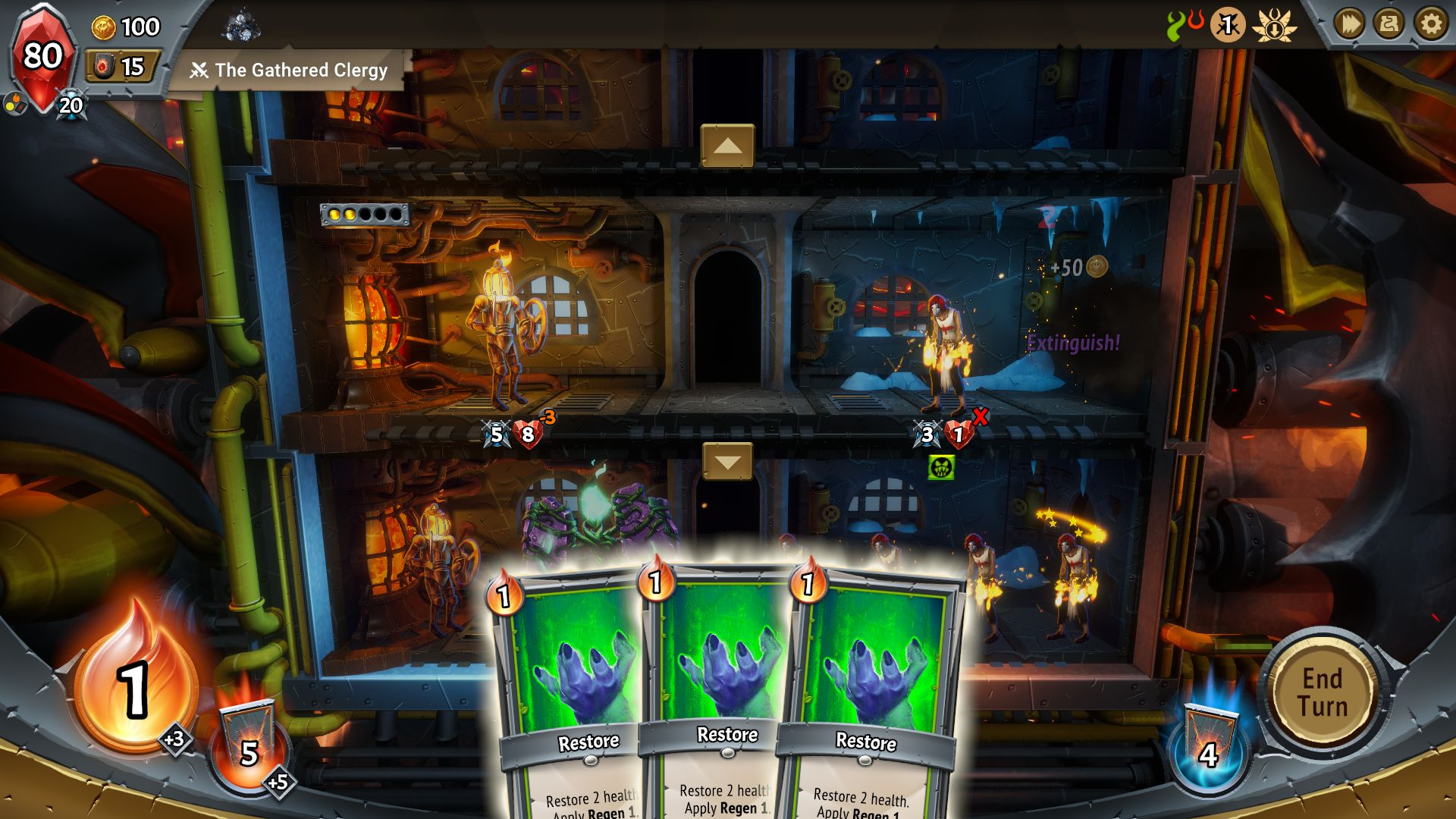 A screenshot of Monster Train showing three regen cards