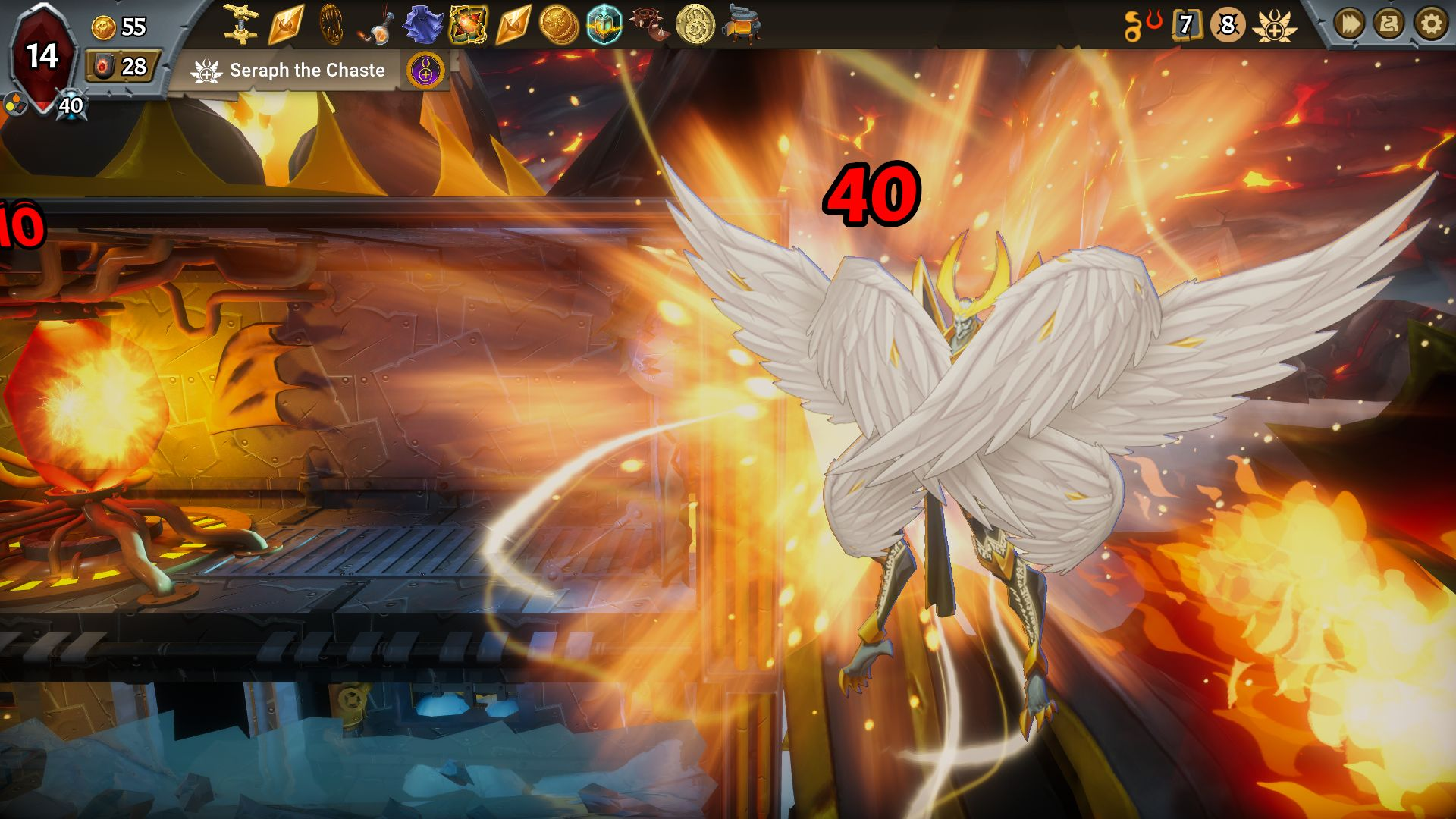 Seraph The Chaste, a big angelic warrior, doing a cool special attack in Monster Train