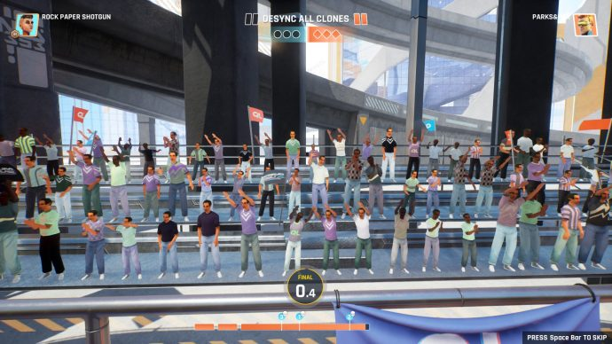 Screenshot of a crowd in Quantum League, which is framed as a sport.