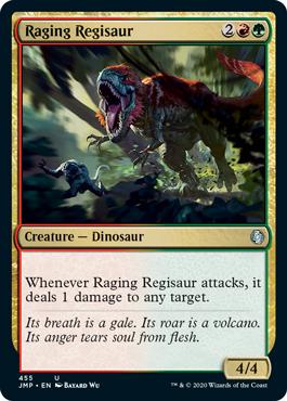 Raging Regisaur card from the Rainbow set in MTG Arena's Jumpstart.