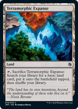 Rainbow Terramorphic card from the Rainbow set in MTG Arena's Jumpstart.