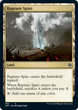 Rupture Spire card from the Rainbow set in MTG Arena's Jumpstart.