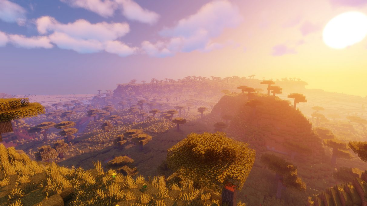 Savannas look absolutely incredible with Sildur's Vibrant Shaders for Minecraft 1.16.1.