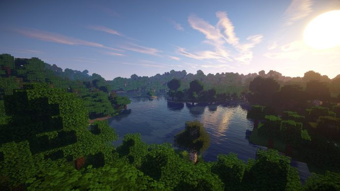 A tranquil forest lake at dawn is made even more beautiful with Sonic Ether's Unbelievable Shaders.