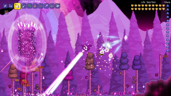 The player is flying around, zapping enemies with laser beams to get at the Pillar event boss.