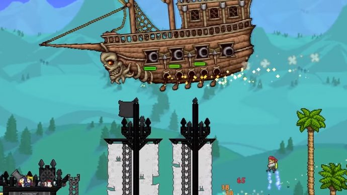 Player is fighting the Flying Dutchman event boss during Terraria's pirate invasion event. It's a giant flying ship with cannons and a skill at the hull.